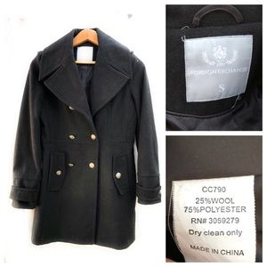 Foreign Exchange Jackets & Coats - Foreign Exchange Double Breasted Wool Blend Coat